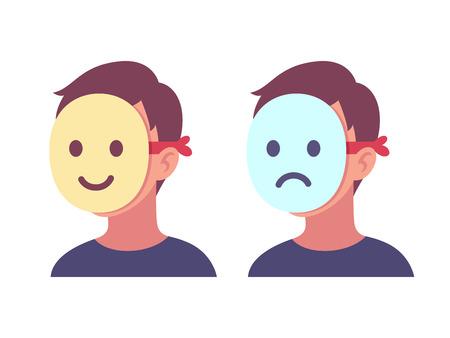 얼굴을 덮고 있는 행복하고 슬픈 마스크를 가진 사람. 이모티콘 뒤에 진정한 감정을 숨깁니다. 심리학 개념 벡터 일러스트 레이 션.