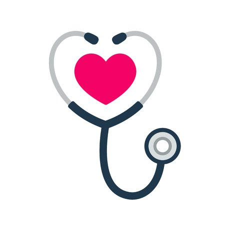 Simple stethoscope icon with heart shape. Health and medicine symbol, Isolated vector illustration.