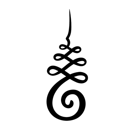 Unalome symbol, Hindu or Buddhist sign representing path to enlightenment. Simple black and white ink drawing, isolated vector illustration. Illustration