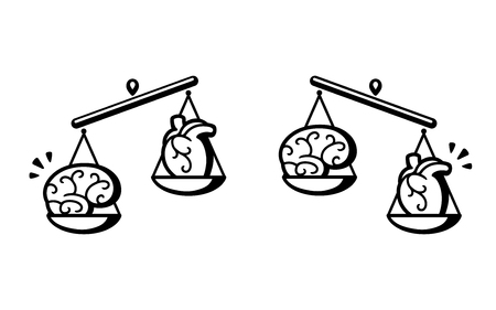 Brain and heart on scales. Balance between logic and emotion, thinking and feeling. Black and white vector illustration.