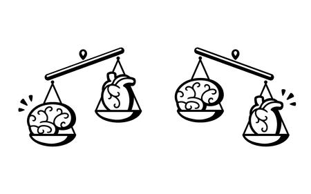 Gehirn und Herz auf Skalen. Balance zwischen Logik und Emotion, Denken und Fühlen. Schwarz-Weiß-Vektor-Illustration.