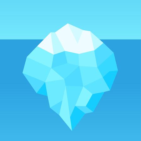 Low poly kreskówka góra lodowa z ukrytą podwodną częścią. Prosty geometryczny wzór na szablon infografikę. Ilustracja wektorowa.