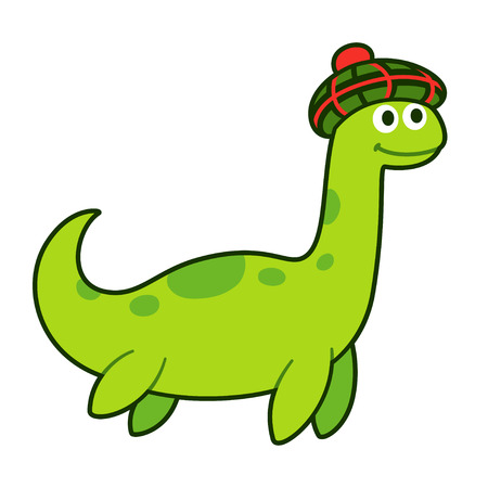 Nessie, Loch Ness monster, in tam o shanter (traditional Scottish bonnet). Funny cartoon drawing, cute character vector illustration.