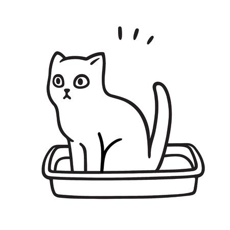 Cartoon-Katze kackt in der Katzentoilette. Niedliche und lustige Kätzchenzeichnung. Haustierleben-Vektor-Illustration.