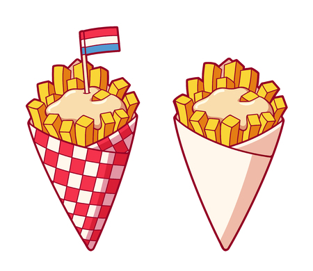 Traditional Dutch potato French fries in paper cone with mayonnaise. Popular Amsterdam fast food, isolated vector illustration. Illustration