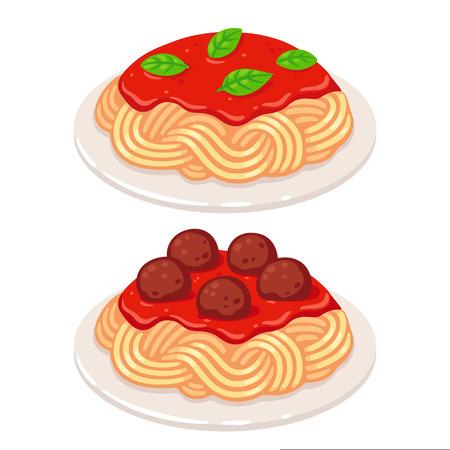Cartoon plates of spaghetti with vegetarian tomato sauce and meatballs. Classic pasta dish vector illustration.