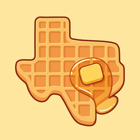 Texas shaped waffle with syrup and butter, cartoon drawing. Traditional American breakfast food vector illustration.