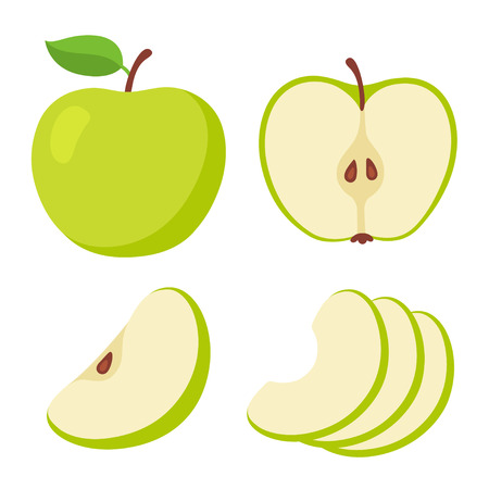 Green apple cartoon set. Cross section of cut apple, slices and whole fruit, isolated vector illustration.