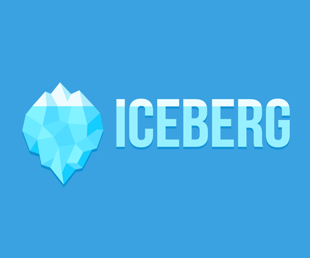 Iceberg logo with text on blue background. Simple geometric polygonal design. Vector illustration.