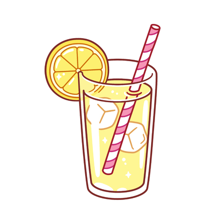 Glass of lemonade with ice cubes, lemon wedge and paper straw. Bright cartoon style vector illustration.