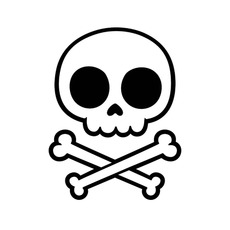 Cute stylized cartoon skull and crossbones doodle. Simple hand drawn Jolly Roger sign, isolated vector illustration. Иллюстрация