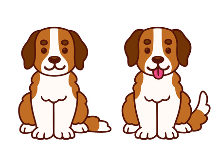 Funny cartoon Saint Bernard puppy sitting with tongue sticking out. Cute dog drawing, isolated vector clip art illustration. Illustration