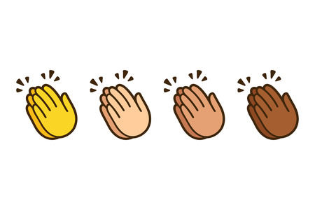 Clapping hands emoji, applause icon in different skin colors. Vector symbol illustration set.