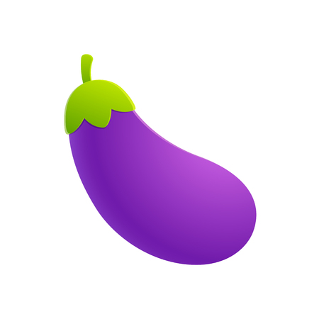 Cartoon eggplant emoji icon, aubergine symbol. Isolated vector vegetable clip art illustration.