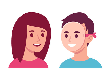 Woman talking to man who is wearing happy mask, hiding his true face. Social situations psychology vector illustration. Ilustração
