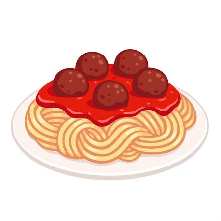 Piatto cartone animato di spaghetti con polpette e salsa di pomodoro. Piatto di pasta classico, illustrazione vettoriale isolato. Vettoriali