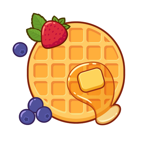 Round waffle with syrup, butter and fruit. Traditional breakfast food vector illustration, cartoon drawing.