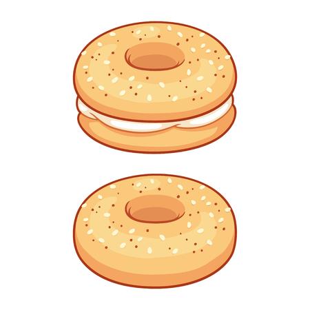 Todo bagel con queso crema, desayuno americano tradicional o comida para el almuerzo. Ilustración de vector aislado.