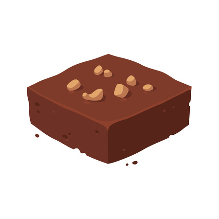 Chocolate fudge brownie square with nuts. Isometric piece of cake, vector clip art illustration.