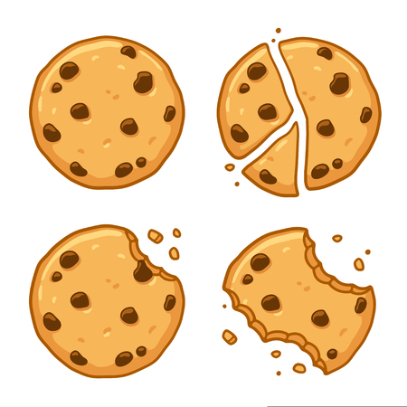 Traditional chocolate chip cookies. Bitten, broken, cookie crumbs. Cartoon vector illustration set.