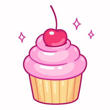 Cute cupcake with pink frosting and cherry, cartoon drawing. Isolated vector illustration. Çizim