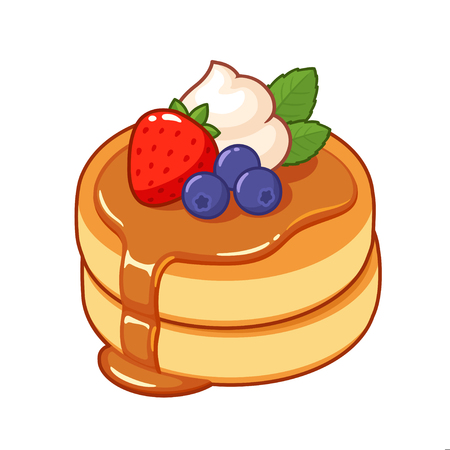 Thick and fluffy Japanese pancakes with syrup, whipped cream and fruit. Traditional breakfast food vector illustration. Vector Illustration