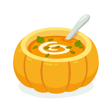 Pumpkin soup served in pumpkin with swirl of cream. Traditional autumn Thanksgiving food vector illustration. Illustration
