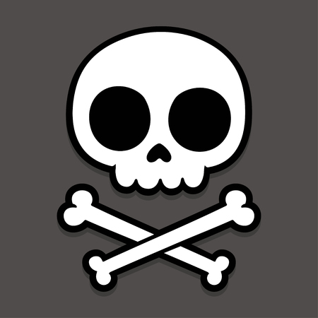 Cute stylized cartoon skull and crossbones doodle. Simple hand drawn Jolly Roger sign, vector illustration on dark background.