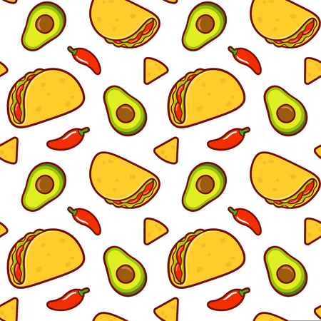 Seamless Mexican food pattern. Taco, avocado, red chili peppers and nachos on white background. Repeating texture vector illustration in cute cartoon style. Illustration