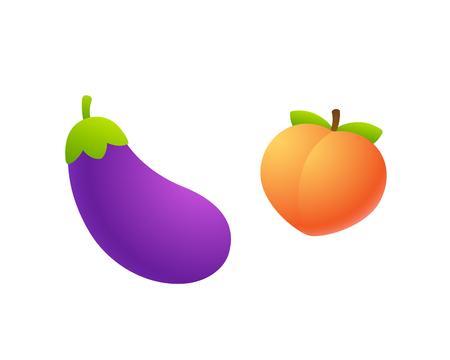 Ikona emoji kreskówka bakłażan i brzoskwinia. Zabawna symboliczna reprezentacja męskich i żeńskich narządów. Ilustracja na białym tle wektor clipart.
