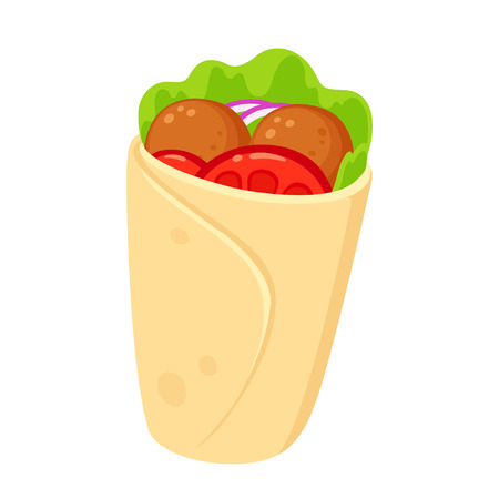 Falafel wrap with vegetables, cartoon style drawing. Healthy vegetarian fast food vector clip art illustration. Иллюстрация