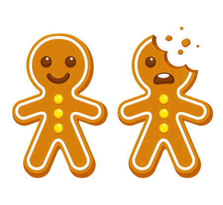 Cartoon gingerbread man whole and with head bite. Funny Christmas cookie vector illustration. Иллюстрация