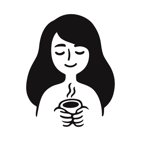 Simple doodle of cute girl holding cup of hot tea or coffee. Black and white drawing, vector illustration.