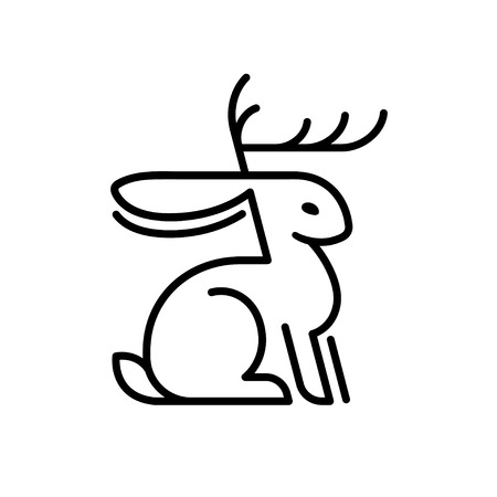 Jackalope rabbit minimal line logo. Mythical animal from American folklore, hare with antelope antlers. Isolated vector illustration.