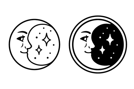 Crescent moon with face and stars on night sky, vintage emblem. Black and white drawing, isolated vector illustration.