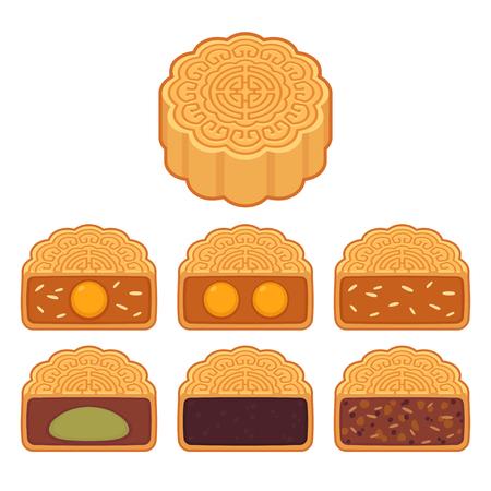Mooncake, repostería tradicional china con diferentes rellenos: semilla de loto y pasta de judías rojas, yema de huevo y sésamo. Conjunto de ilustraciones de imágenes prediseñadas vectoriales aisladas.