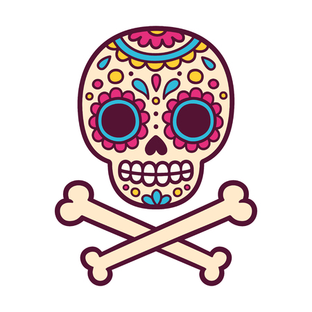 Cartoon Mexican sugar skull vector illustration for Dia de los Muertos (Day of the Dead). Cute and simple skull drawing with crossed bones.