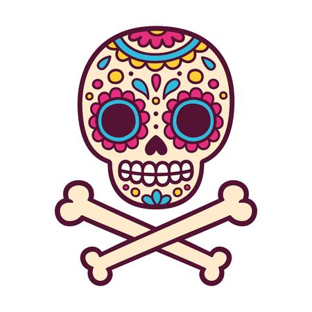 Cartoon Mexican sugar skull vector illustration for Dia de los Muertos (Day of the Dead). Cute and simple skull drawing with crossed bones.