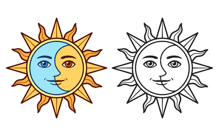 Stylized half sun half moon face, black and white drawing and color version. Vintage boho tattoo symbol, vector clip art illustration. Illusztráció