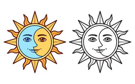 Visage stylisé demi-soleil demi-lune, dessin noir et blanc et version couleur. Symbole de tatouage boho vintage, illustration vectorielle clip art. Vecteurs