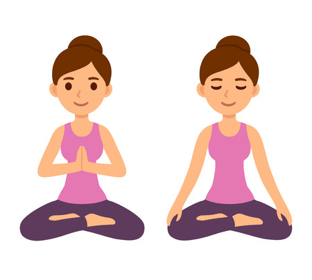 Cute cartoon young woman doing yoga and meditating in lotus pose. Mindfulness and meditation vector character illustration. Иллюстрация