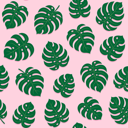 Monstera (philodendron) leaf seamless pattern on pink background. Tropical plant leaves summer texture vector illustration. Иллюстрация