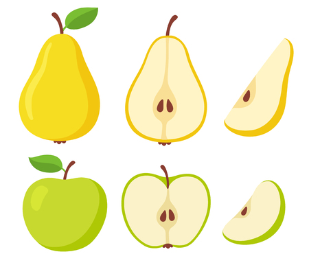 Green apple and yellow pear set. Whole and cut fruit, cross section and slice. Simple cartoon isolated vector illustration. Illustration