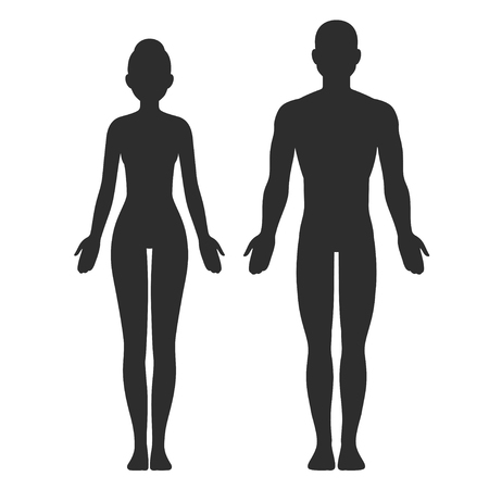 Male and female body silhouette template. Isolated vector clip art illustration.
