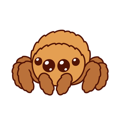 Cute cartoon fluffy spider with big shiny eyes. Kawaii spider character drawing, isolated vector illustration. Ilustracja