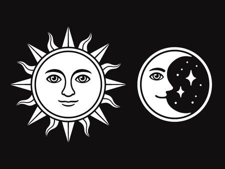 Sun and moon with face, vintage style black and white drawing. Isolated vector illustration of antique celestial symbols.