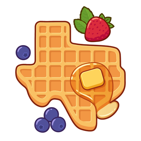 Texas shaped waffle with syrup, butter and fruit. Traditional American breakfast food vector illustration, cartoon drawing. Иллюстрация