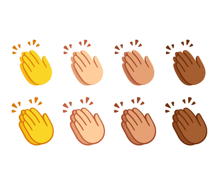 Clapping hands emoji set. Applause icons in two styles, line icon and flat cartoon color option. Different skin shades. Vector symbol set.
