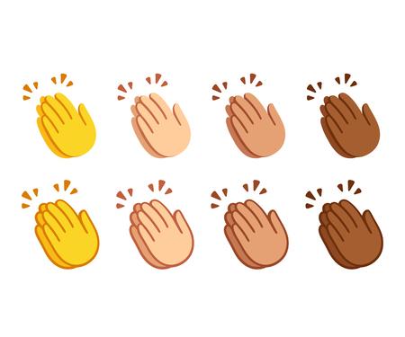 Insieme di emoji delle mani che applaudono. Icone di applausi in due stili, icona di linea e opzione di colore piatto del fumetto. Diverse tonalità della pelle. Insieme di simboli di vettore.