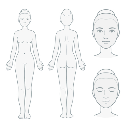Female body and face chart, front and back view with head close up. Blank woman body template for medical infographic. Isolated vector illustration.